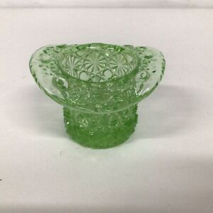 Green Cut Glass Upside Down Top Hat Or Posey Vase #565