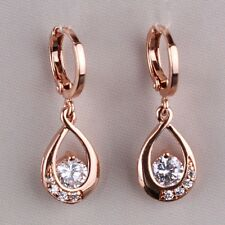 Top Fashion 18k rose gold filled eternity White Topaz lady dangle earring