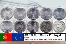 Lot 10 Eur coin Unc Portugal 2003 2004 2005 2006 2007 2010 2011 2012 PLEASE READ