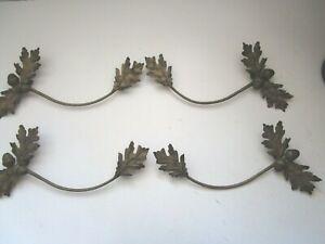 "Two pair 4pc Metal Acorn Leaf Round Curtain Rod Brackets 13 1/2"" long"