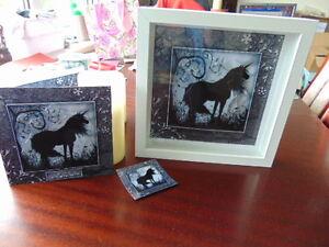 Fantasy Unicorn 3D Black Silhouette Moonlit Sky 3 LIGHT UP BOX FRAME + FREE CARD