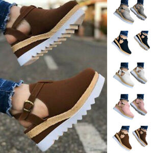 Women Wedge Sandals Increase Height Round Toe Casual Breathable Shoes Casual