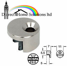 6 Mirror Clips Fixings Fittings Round Silver Nickel Plated
