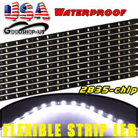 10PC White 2Ft Waterproof Flexible LED Light Strip for Car Motor Boat Bike Truck