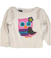 Mud Pie Girls Pink Owl Embroidered Cream Color Long Sleeve Top Size 4t EUC