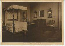 ANTIQUE FOUR POSTER BED BEDROOM INTERIOR AMERICAN COLONIAL FURNITURE CHAIR PRINT