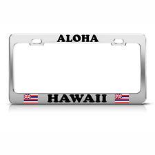 HAWAII FLAG ALOHA Metal Chrome License Plate Frame Tag Border