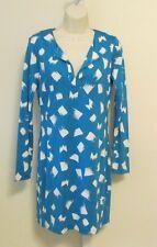 Diane von Furstenberg Reina Brushes blue white tunic dress 12 DVF New silk sky