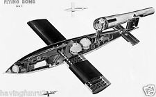 German V-1 Flying Bomb Rocket Cut-A-Way  8 x 10 Photograph
