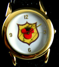 MICKEY MOUSE SHIELD WATCH /GOLD TONE CASE AND NUMERAL /LEATHER BAND
