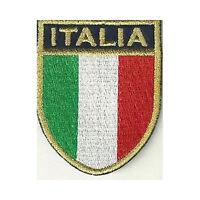 [Patch] SCUDETTO ITALIA bordo oro cm 5,5 x 7 toppa ricamata termoadesiva -418