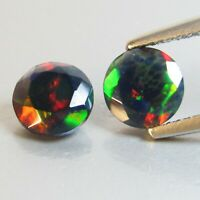1.32Ct Natural Color Play Ethiopian Black Opal Round 6.5MM Matching Pair ref VOD