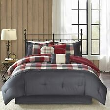 Madison Park Ridge Queen Size Bed Comforter Set Bed in A Bag - Red, Plaid – 7 Pi
