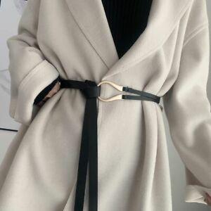 Dress Coat Sweater U-Shape Buckle PU Leather Belt Waistband Knotted Waist Strap