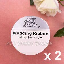 White Satin Wedding Ribbon 6 Cm X 10m One Roll