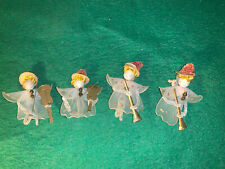Vintage Christmas Pipe Cleaner Spun Silk Musicians Pink And White Set Of Four
