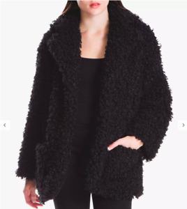 New Womens Studio Curly Faux Fur Jacket Coat Black Sz 24 (B1)
