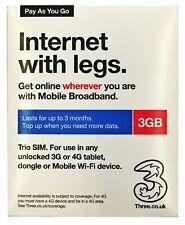 PAYG Three (3) Mobile Sim Card 3GB FREE Data Preloaded 90 Days Ist Class