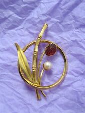 Vintage Winard Gold Filled Bamboo Brooch with Pearl & Scarab