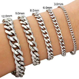 """3/6/8/9/12/15mm Mens Chain Curb Link Silver Tone Stainless Steel Bracelet 7""""-9"""""""