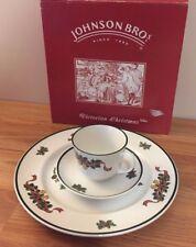 Johnson Bros. VICTORIAN CHRISTMAS 3 piece set w/box dinner plate, tea cup saucer