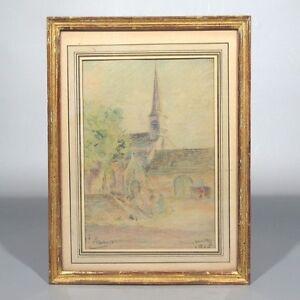 Antique French Pastel, Church WWI Period, SignedGenette, 1915, Impressionist