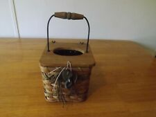 Primitive Heart Basket Wood Handle Green Tissue Box Holder Vintage Farmhouse