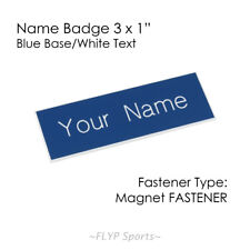 """Name Badge Tag Magnetic Blue/White Personalised Engraved Customised 3x1"""" Empl..."""