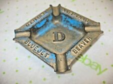 Vintage PAINTED Cast Iron Ashtray BEAVER PENFIELD BLUEJET DYNA-LINK ADVERTISING