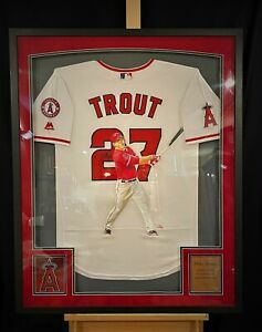 """Mike Trout Los Angeles ANGELS """"Hand Painted"""" Autographed Jersey 1/1 Framed"""
