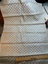 Antique Vintage Linen Kitchen Toweling Towel Fabric Woven Natural Plaid Unused