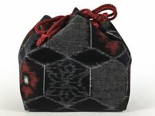 Vintage Japanese Kinchaku Draw-String Bag Cotton Black Kasuri: Nov17C