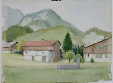 Aquarelle Widerswil Oberland Suisse Henri Gommers Montagne 1978