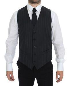 DOLCE & GABBANA Gray Striped Wool Logo Vest Gilet wool IT48 / US38 /M
