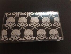 Glam Goth Metallic Skulls Checkbook Cover fabric & vinyl protector Handmade