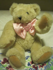 Authentic Handmade Vermont Teddy Bear-Blond Fur/Its A Girl Bow W/Movable Arms/Le