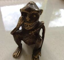 Solid  Bronze Mischievous Thinking Seated  Monkey