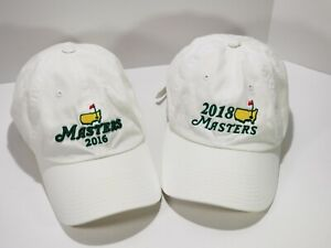 Masters Golf Hat dated 2016 2018 white adjustable American needle 2 hat lot