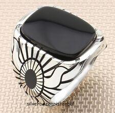 Free Handmade Onyx Black Stone 925 Sterling Silver Turkish Men Ring All Size Usa