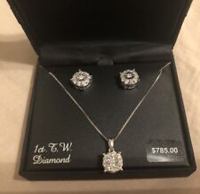 NEW Sterling Silver 1 Carat T.W. Diamond Halo Pendant & Stud Earring Set $785