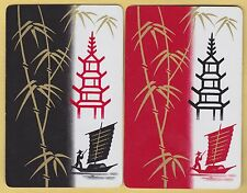2 Single VINTAGE Swap/Playing Cards ORIENTAL SAIL BOAT SAMPAN PAGODA BAMBOO Gold