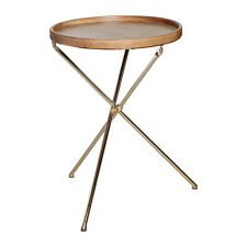 Wood Top Round Side Table with Iron Legs in Gold Finish