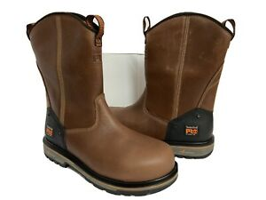 TIMBERLAND PRO PULL ON BOOTS BROWN ANTI FATIGUE XL COMP TOE WORK BOOT UK 8 NEW