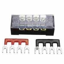 600V 15A 4P Double Row Wire Barrier Terminal Block With 2 Connector Strips