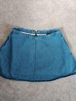 Womens Topshop Denim Skirt blue size 14 a-line pockets casual summer vgc