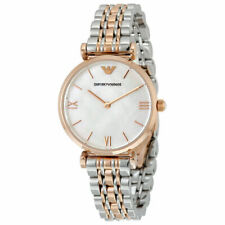 Brand NEW EMPORIO ARMANI AR1683 Ladies Watch Classic Rose Gold Silver Two-tone