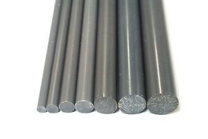 PVC Rod Grey Plastic Engineering Round Bar Billet Spacer 6mm-20mm Various Sizes
