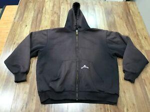 MENS LARGE - Carhartt K129 Thermal Lined Faded Hooded Zip Sweatshirt