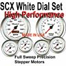 SCX FULL SWEEP 6 Gauge Set White Dials Stainless Bezels with Programmable Speedo