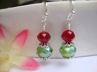 Faceted Green & Red Crystal Silver Dangle Earrings Christmas Holiday Christmas